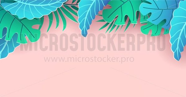 Summer banner or poster template. Vector trendy summer background design. Summer season Holiday design with paper cut tropical leaves. Vacation vector background. - Vector illustrations for everyone | Microstocker.Pro