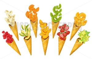 Summer fruits in ice-cream cones. Bananas, oranges, mango, strawberries, carambole, kiwi etc. Sliced summer fruits in cones isolated on white background. Cartoon fruits vector illustration - Vector illustrations for everyone | Microstocker.Pro