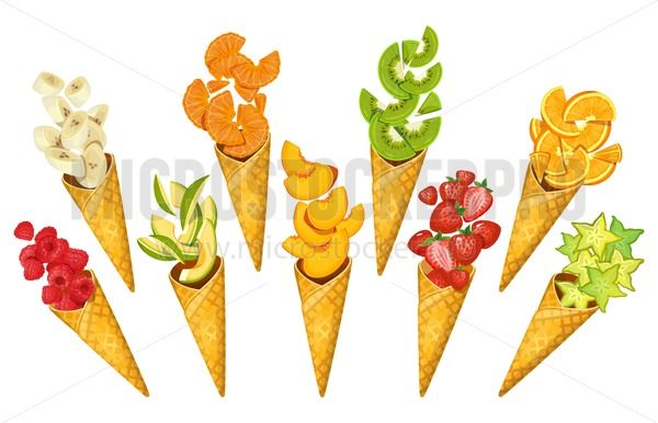 Summer fruits in ice-cream cones. Bananas, oranges, mango, strawberries, carambole, kiwi etc. Sliced summer fruits in cones isolated on white background. Cartoon fruits vector illustration - Vector illustrations for everyone   Microstocker.Pro