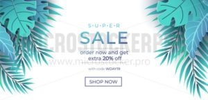 Summer sale banner in trendy style with exotic leaves. Paper tropical leaves design isolated on white background. Modern summer sale banner template. Vector illustration - Vector illustrations for everyone | Microstocker.Pro