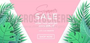 Summer sale banner in trendy style with pink and green tropical leaves for promotion of cosmetic, fashion, accessorize etc. Modern summer sale banner template. Vector illustration - Vector illustrations for everyone | Microstocker.Pro