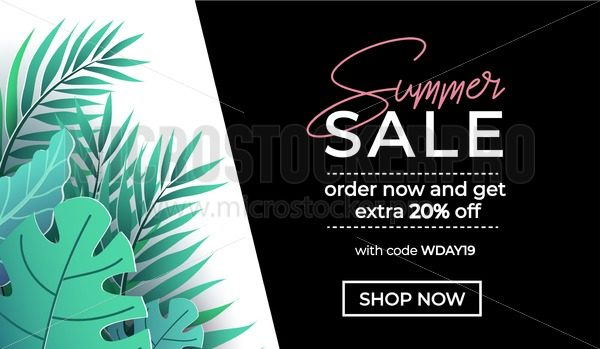 Summer sale banner in trendy style with tropical leaves for promotion of cosmetic, fashion, accessorize etc. Modern elegant and luxury summer sale banner template. Vector illustration - Vector illustrations for everyone | Microstocker.Pro