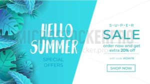 Summer sale banner with paper cut tropical leaves. Exotic design concept for web, banners, invitations etc. Trendy summer background. Vector illustration - Vector illustrations for everyone | Microstocker.Pro