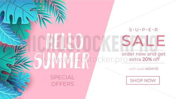 Summer sale tropical banner. Hello summer lettering with paper exotic leaves and sale promotion text. Vector sale illustration template - Vector illustrations for everyone | Microstocker.Pro