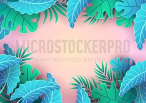 Summer tropical background design. Pink background and leaves for sale banner, poster or voucher discount. Summer vector background. - Vector illustrations for everyone | Microstocker.Pro