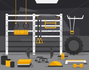 TRX and crossfit zone concept. Gym of fitness center interior design in flat style with barbell, plates, medicine ball, kettlebell. power racks, rigs etc Vector Gym Equipment for crossfit. - Vector illustrations for everyone | Microstocker.Pro