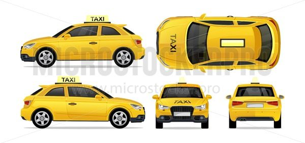 Taxi yellow car with side, front, back and top. City transport taxi icon set for mobile, web, promotions. Taxi cab isolated on white background.Hi-detailed service vehicle vector mockup template - Vector illustrations for everyone | Microstocker.Pro