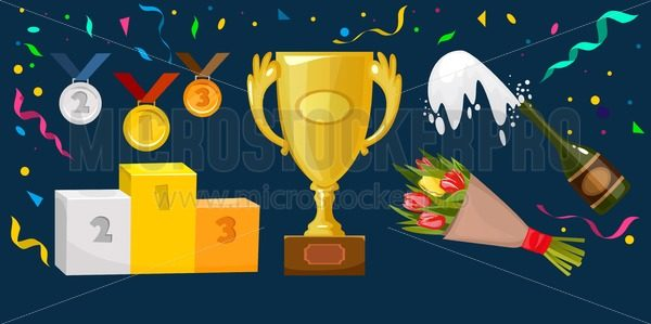 Trophy elements vector collection. Medals, flowers, winner cup, award winning podium (pedestal), champagne, confetti and ribbons isolated on blue background. - Vector illustrations for everyone | Microstocker.Pro