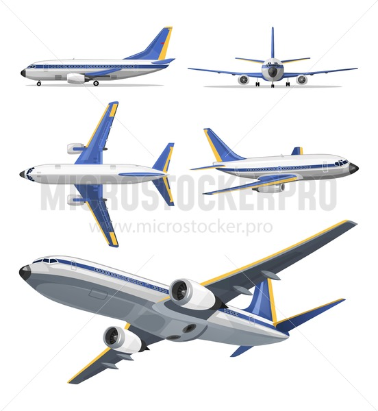 Vector airplane with yellow and blue stripes on white background. Airplane in top, side, front and bottom view. Vector aircraft illustration. - Vector illustrations for everyone   Microstocker.Pro