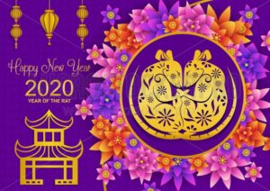 2020 Chinese new year greeting card with traditional elements and symbol of the new year. Year of the rat in chinese style poster or greeting card. Vector illustration - Vector illustrations for everyone | Microstocker.Pro