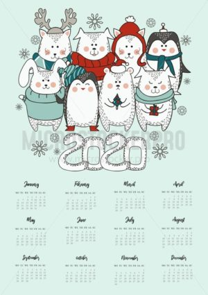 2020 new year cute greeting card with calendar. Animals in winter clothing in scandinavian style. Cute animals Christmas card. Vector illustration - Vector illustrations for everyone | Microstocker.Pro