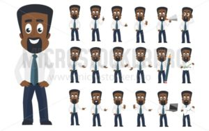 African american business man character with different facial emotions and poses. Cartoon business character icon set isolated on white background. Vector business man in flat style. - Vector illustrations for everyone | Microstocker.Pro
