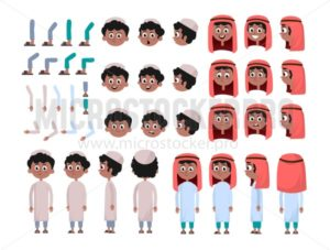 Arab boy character constructor set in flat style. Muslim boy DIY set with different facial expressions and moving arms and head. Arabic man wearing traditional clothing front, rear, side view. Flat vector illustration. - Vector illustrations for everyone | Microstocker.Pro