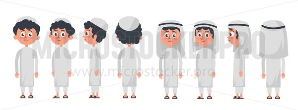 Arab muslim boy character isolated on white background. Muslim boy wearing traditional clothing front, rear, side view. Vector arab illustration in flat style. - Vector illustrations for everyone | Microstocker.Pro