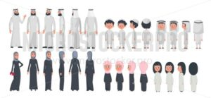 Arab muslim family characters isolated on white background. Muslim husband, wife and children wearing arabic clothing front, rear, side view. Vector illustration in flat style. - Vector illustrations for everyone | Microstocker.Pro