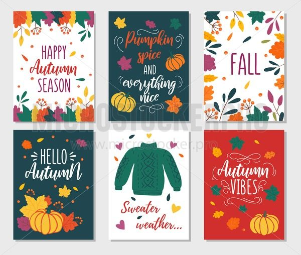 Autumn cards set with quotes, pumpkins, leaves and sweater. Hand drawn fall vector greeting cards illustrations. Pumpkin spice and everything nice. Hello fall. Sweater weather. Autumn vibes - Vector illustrations for everyone | Microstocker.Pro