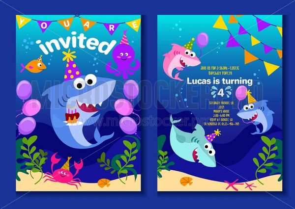 Baby shark party invitation cards. Happy Birthday greeting card in cartoon style with under the sea world animals shark, octopus, balloons etc. Colorful kids party poster or invitation vector template. - Vector illustrations for everyone | Microstocker.Pro