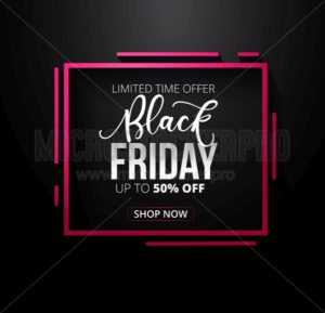 Black friday promotional banner design with geometric shapes and dark background. Black friday sale banner concept. Minimalistic and elegant vector discount template - Vector illustrations for everyone | Microstocker.Pro