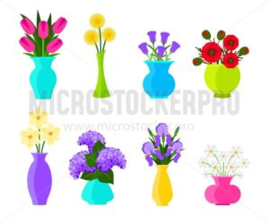 Bouquets of flowers in vases in flat style. Summer and spring flowers set. Vector flowers illustration isolated on white background - Vector illustrations for everyone | Microstocker.Pro