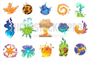Cartoon explosion icons set - Vector illustrations for everyone | Microstocker.Pro