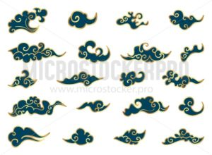Chinese clouds set - Vector illustrations for everyone   Microstocker.Pro