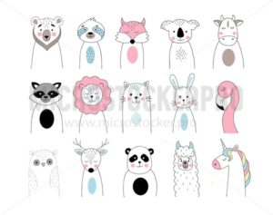 Cute animals set in hand drawn style. Bear, koala, fox, sloth, cow, lion, cat, rabbit, flamingo, owl, deer, panda, raccoon, llama, unicorn in linear style. Line art vector animals illustration - Vector illustrations for everyone | Microstocker.Pro