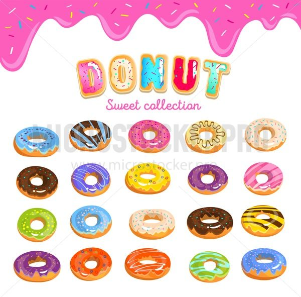 Donut icon set in cartoon style with donut text and dripping pink glaze background. Colorful doughnuts with different glaze. Vector sweet illustration - Vector illustrations for everyone | Microstocker.Pro