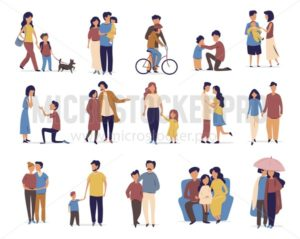 Family and friends leisure and activity in cartoon flat style. People daily lifestile and communication with family or friends. Walking a dog, rifing a bike, Walking in the rain, falling in love. - Vector illustrations for everyone | Microstocker.Pro