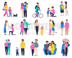 Family leisure and activity set - Vector illustrations for everyone | Microstocker.Pro