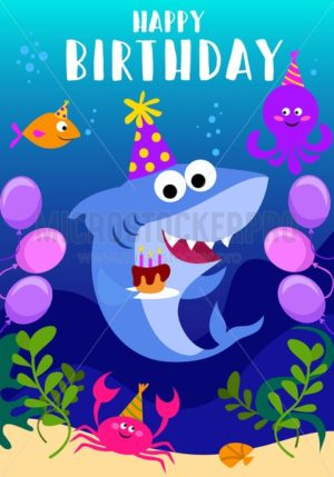 Happy Birthday greeting card with shark, octopus, fish and cartoon sea elements. baby shark birthday greeting card template. Shark party vector illustration - Vector illustrations for everyone | Microstocker.Pro
