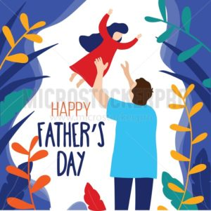 Happy Father's day trendy card with father and daughter in modern flat style. Father's day greeting card concept. Vector illustration - Vector illustrations for everyone | Microstocker.Pro