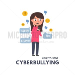 Help to stop cyberbullying concept with girl reading messages and comments in social networks. Children and adults bullying vector illustration. Cyberbullying in social networks illustration. - Vector illustrations for everyone | Microstocker.Pro