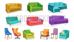 Home or office furniture in cartoon style isolated on white background. Vector sofas, armchairs and chairs set. Home interior colorful elements. - Vector illustrations for everyone | Microstocker.Pro