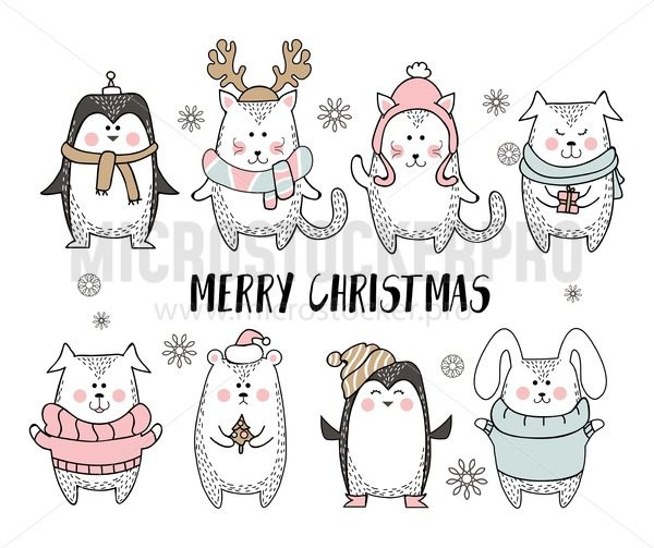 Merry Christmas greeting card with cute animal in scandinavian style. Cute winter animals isolated on white background. Minimalistic seasonal greeting card. Vector illustration - Vector illustrations for everyone | Microstocker.Pro