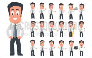 Modern business man character set - Vector illustrations for everyone | Microstocker.Pro