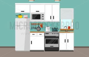 Modern kitchen illustration in flat style. Cartoon white kitchen design with white facade, microwave oven, fridge, window, sink, oven and kitchen supplies. Vector illustration - Vector illustrations for everyone | Microstocker.Pro