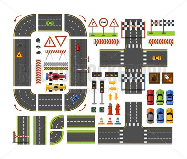 Road constructor top view in flat style for game design isolated on white background. Vector city road elements isolated on white background. Vector illustration - Vector illustrations for everyone | Microstocker.Pro