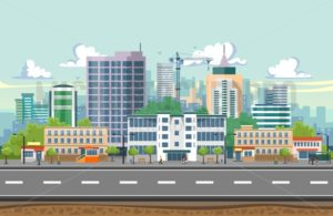 Seamless city landscape illustration - Vector illustrations for everyone | Microstocker.Pro