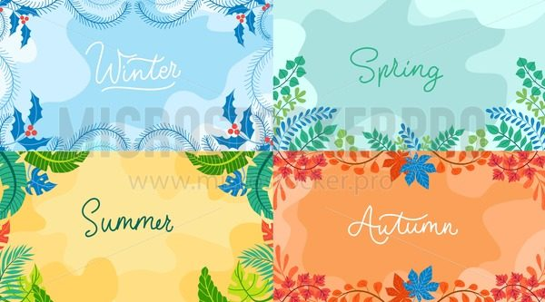 Seasonal backgrounds set in flat style. Winter, spring autumn summer with seasonal elements. Vector backgrounds collection. - Vector illustrations for everyone | Microstocker.Pro