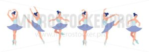 Set of dancing ballerinas in flat style isolated on white background. Cartoon ballerina character with different dance poses and emotions. Vector illustration - Vector illustrations for everyone | Microstocker.Pro