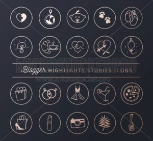 Social networks icons set for stories highlights in chic style. Blogger lifestyle icon collection. Vector illustration - Vector illustrations for everyone | Microstocker.Pro