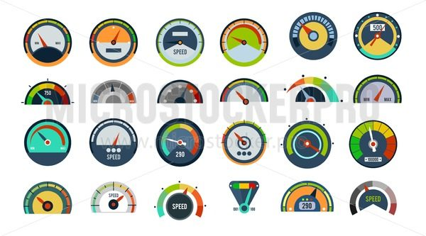 Speedometers set isolated on white - Vector illustrations for everyone | Microstocker.Pro
