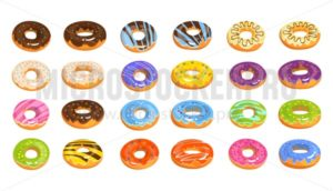 Vector donuts isolated on white background in cartoon style. Delicious doughnuts with chocolate, lemon, pink, violet, blue and orange glaze. Tasty fast food vector illustration - Vector illustrations for everyone | Microstocker.Pro