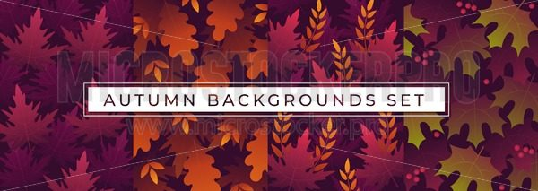 Autumn backgrounds set with multicolored leaves - Vector illustrations for everyone | Microstocker.Pro