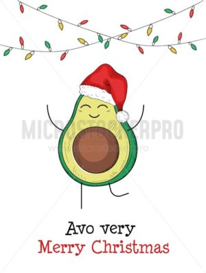 Avo very merry christmas avocado greeting card - Vector illustrations for everyone | Microstocker.Pro