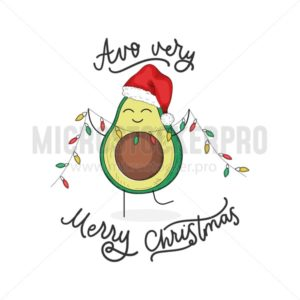 Avocado very merry christmas cute greeting card - Vector illustrations for everyone | Microstocker.Pro