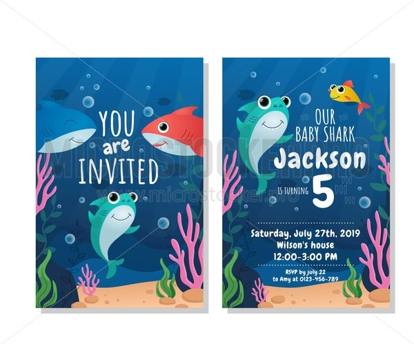 Baby shark party invitation card - Vector illustrations for everyone | Microstocker.Pro