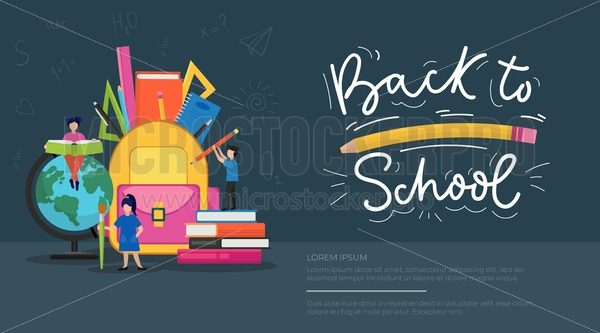 Back to school banner - Vector illustrations for everyone   Microstocker.Pro