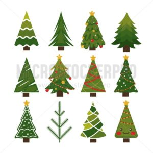 Beautiful celebration christmas trees set - Vector illustrations for everyone | Microstocker.Pro