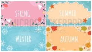 Beautiful natural seasonal backgrounds set - Vector illustrations for everyone | Microstocker.Pro
